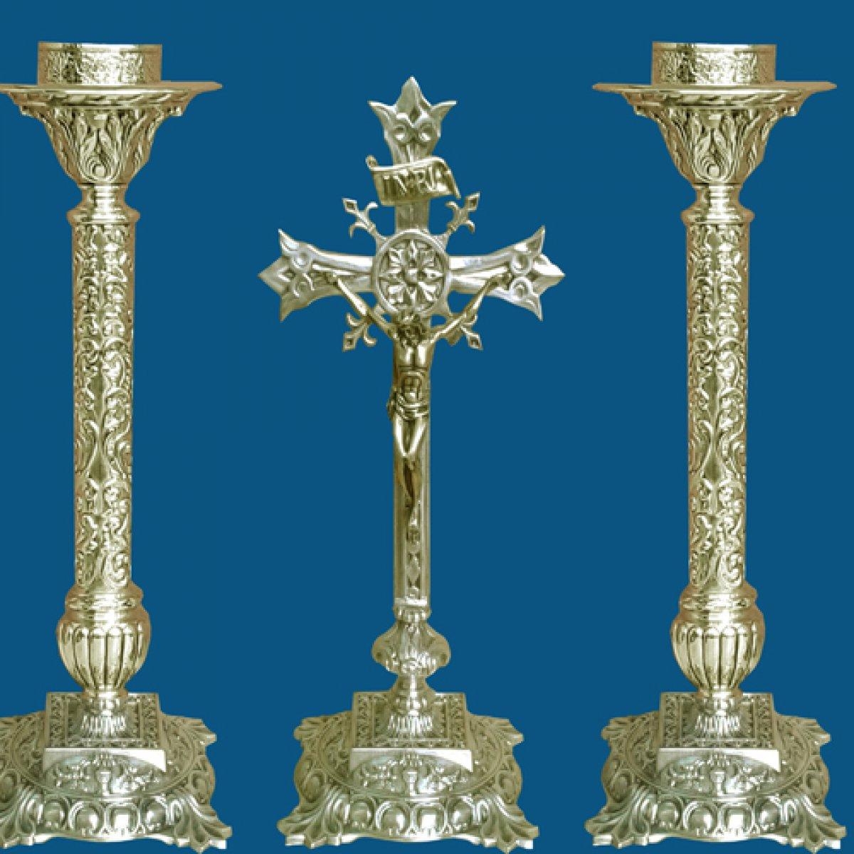 Conjunto Cirios y Cruz Altar